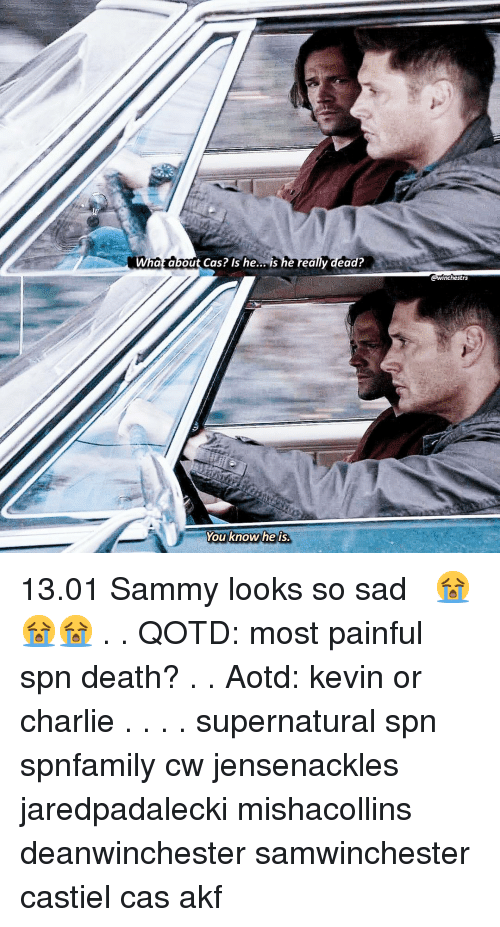 spn: Who  hat about Cas? Is he... is he really dead?  @winchestrs  You know he is 《13.01》 Sammy looks so sad 😭😭😭 . . QOTD: most painful spn death? . . Aotd: kevin or charlie . . . . supernatural spn spnfamily cw jensenackles jaredpadalecki mishacollins deanwinchester samwinchester castiel cas akf