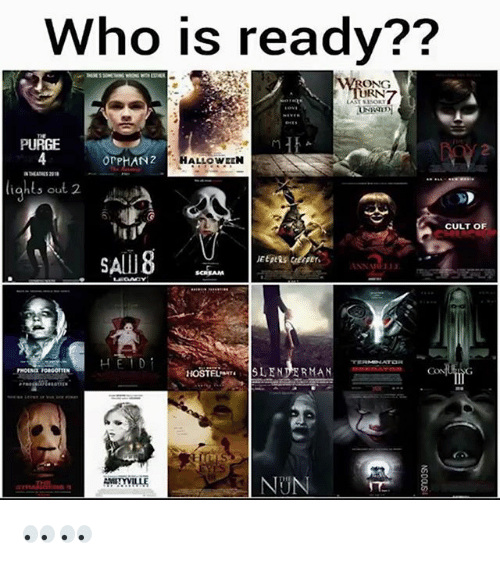 Memes, Scream, and 🤖: Who is ready??  WRONG  RN  PURGE  4  2  OrPHAN2  HALLOWELN  5 ou  CULT OF  SAlI8  SCREAM  1-1  HOSTELSENDERMAN  THE  HYYILLE  NUN 👀👀