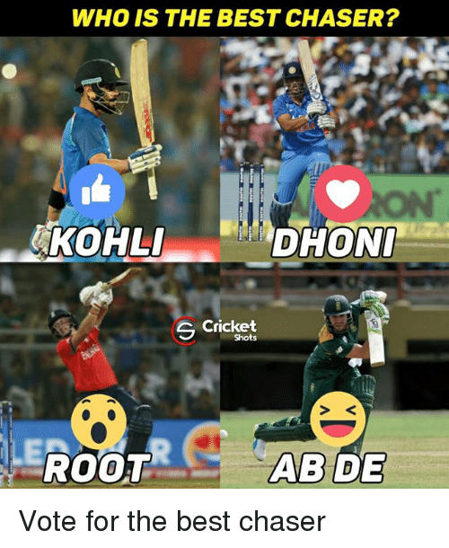 abide: WHO IS THE BEST CHASER?  ANKOHLI  DHONI  Cricket  S Shots  ILE  ROOT  ABIDE Vote for the best chaser