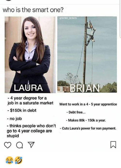 apprentice: who is the smart one?  @WIRE DOWN  LAURA  BRIAN  - 4 year degree for a  job in a saturate market  - $150k in debt  Went to work in a 4-5 year apprentice  -Debt free...  - no job  -thinks people who don't  go to 4 year college are  stupid  - Makes 80k 150k a year.  - Cuts Laura's power for non payment. 😂🤣