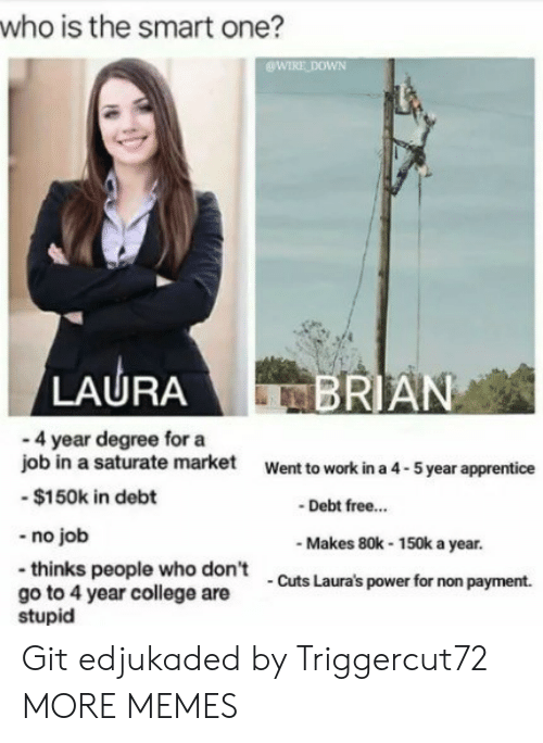 apprentice: who is the smart one?  WIRE DOWN  LAURA  RIAN  - 4 year degree for a  job in a saturate market  -$150k in debt  -no job  -thinks people who don't  go to 4 year college are  Went to work in a 4-5 year apprentice  Debt free..  Makes 80k-150k a year.  Cuts Laura's power for non payment.  stupid Git edjukaded by Triggercut72 MORE MEMES