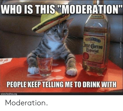 """ase: WHO IS THIS MODERATION""""  ase uervo  Isperial  PEOPLE KEEP TELLING ME TO DRINK WITH  www.heahea.org Moderation."""