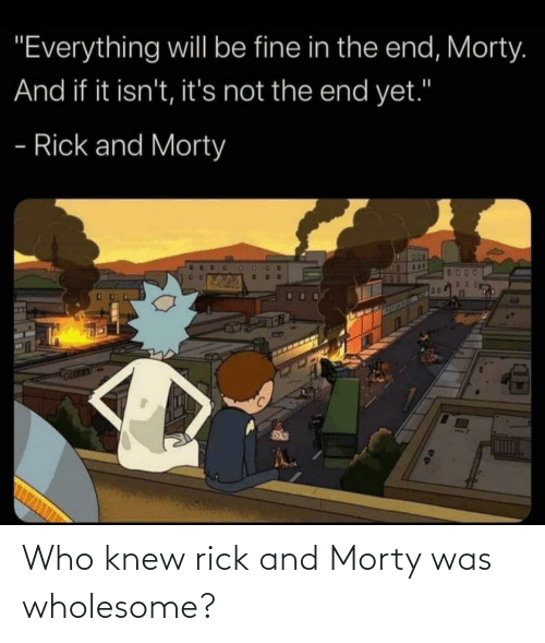 rick: Who knew rick and Morty was wholesome?