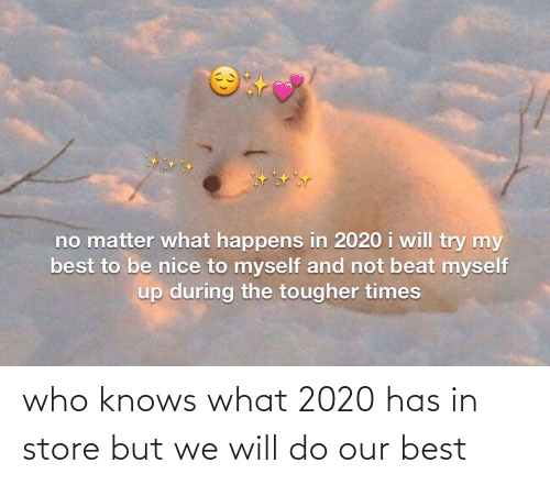who knows: who knows what 2020 has in store but we will do our best