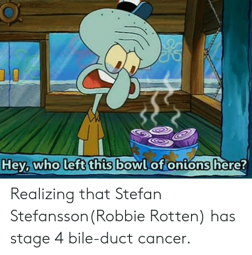 robbie rotten: who left this  bowlot onions here Realizing that Stefan Stefansson(Robbie Rotten) has stage 4 bile-duct cancer.