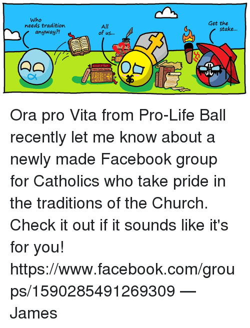life ball: Who  needs tradition.  anyway?!  All  of us  Get the  stake... Ora pro Vita from Pro-Life Ball recently let me know about a newly made Facebook group for Catholics who take pride in the traditions of the Church. Check it out if it sounds like it's for you!  https://www.facebook.com/groups/1590285491269309  —James