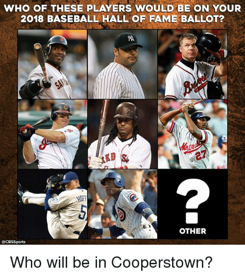 Cbssports: WHO OF THESE PLAYERS WOULD BE ON YOUR  2018 BASEBALL HALL OF FAME BALLOT?  OTHER  @CBSSports Who will be in Cooperstown?