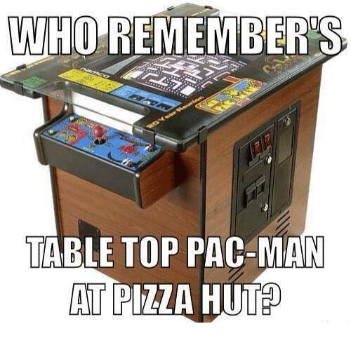 table top: WHO REMEMBERS  TABLE TOP PAC-MAN  AT PIZZA HUT