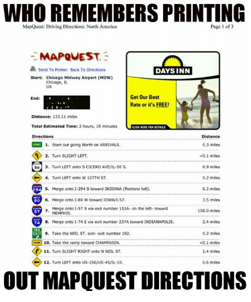Who Remembers Printing Out Mapquest Directions? MapQuest Driving ...