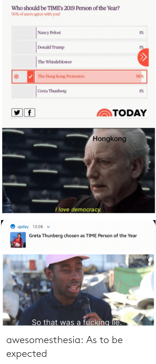 Hong Kong: Who should be TIME's 2019 Person of the Year?  96% of users agree with you!  Nancy Pelosi  1%  Donald Trump  1%  The Whistleblower  V The Hong Kong Protesters  96%  Greta Thunberg  1%  TODAY  Hongkong  I love democracy.  upday 13:08 v  Greta Thunberg chosen as TIME Person of the Year  So that was a fucking lie. awesomesthesia:  As to be expected