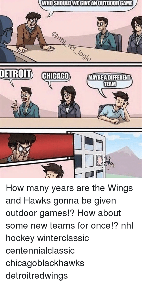 Chicago, Detroit, and Hockey: WHO SHOULD WEGIVEANOUTDOORGAME  DETROIT  CHICAGO MAYBEADIFFERENT  TEAM How many years are the Wings and Hawks gonna be given outdoor games!? How about some new teams for once!? nhl hockey winterclassic centennialclassic chicagoblackhawks detroitredwings