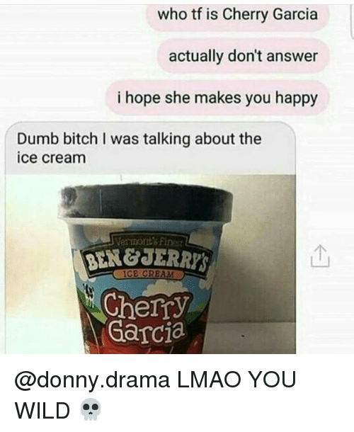 dumb bitches: who tf is Cherry Garcia  actually don't answer  i hope she makes you happy  Dumb bitch I was talking about the  ice cream  Vermont's Finest  个  BEN&JERRY  Cherry  Garcia @donny.drama LMAO YOU WILD 💀