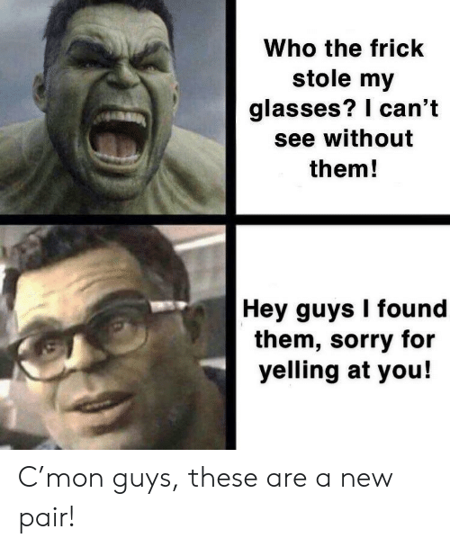 I Cant See: Who the frick  stole my  glasses? I can't  see without  them!  Hey guys I found  them, sorry for  yelling at you! C'mon guys, these are a new pair!