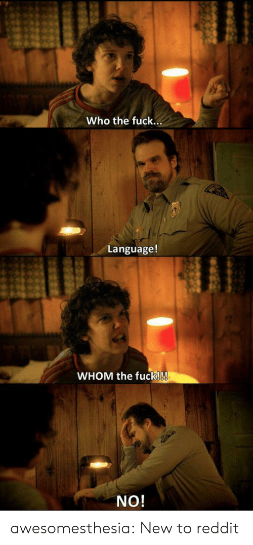 whom: Who the fuck...  Language!  WHOM the fuck!!!  NO! awesomesthesia:  New to reddit