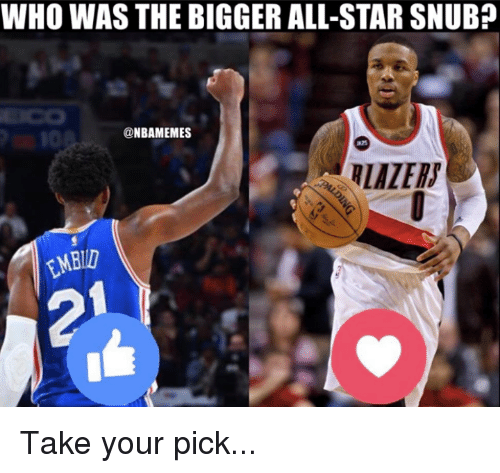 All Star, Nba, and Snub: WHO WAS THE BIGGER ALL-STAR SNUB?  @NBAMEMES Take your pick...
