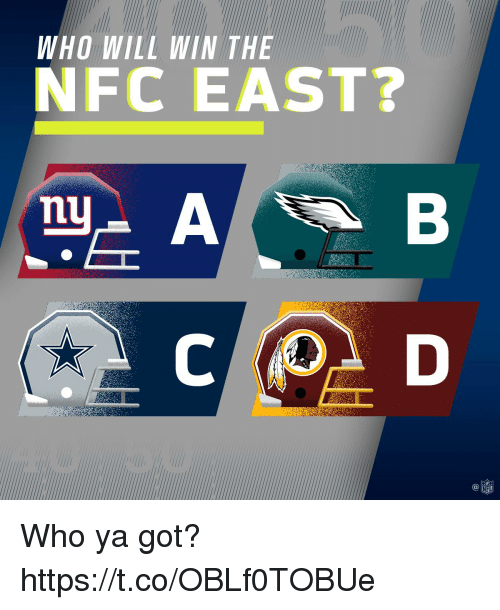 nfc east: WHO WILL WIN THE  NFC EAST?  C@  NFL Who ya got? https://t.co/OBLf0TOBUe