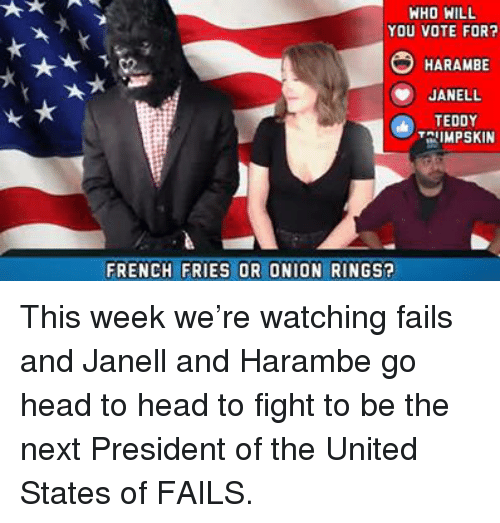 Onion Ring: WHO WILL  YOU VOTE FOR?  HARAMBE  JANELL  TEDDY  IMPSKIN  FRENCH FRIES OR ONION RINGS? This week we're watching fails and Janell and Harambe go head to head to fight to be the next President of the United States of FAILS.