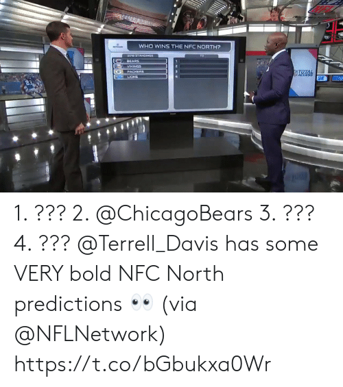 Predictions: WHO WINS THE NFC NORTH?  2018 STANDINGS  BEARS  VIKINGS  PACKERS  LIONS 1. ??? 2. @ChicagoBears 3. ??? 4. ???  @Terrell_Davis has some VERY bold NFC North predictions 👀 (via @NFLNetwork) https://t.co/bGbukxa0Wr