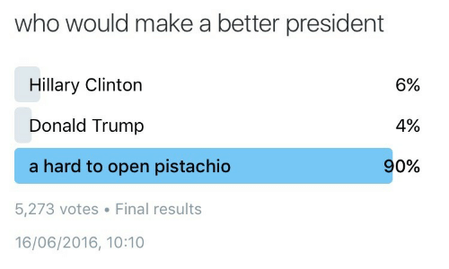 Hillary Clinton: who would make a better president  Hillary Clinton  Donald Trump  a hard to open pistachio  6%  4%  90%  5,273 votes Final results  16/06/2016, 10:10