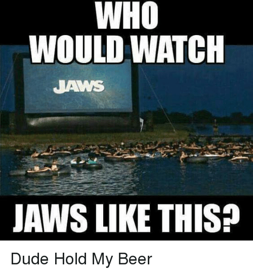 Beer, Memes, and 🤖: WHO  WOULD WATCH  JAWS LIKE THIS? Dude Hold My Beer