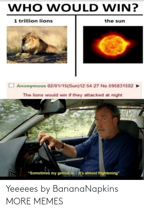 "Who Would Win: WHO WOULD WIN?  1 trillion lions  the sun  Anonymous 02/01/15(Sun)12:54:27 No.595831502  The lions would win if they attacked at night  ""Sometimes my genius is... it's almost frightening"" Yeeeees by BananaNapkins MORE MEMES"