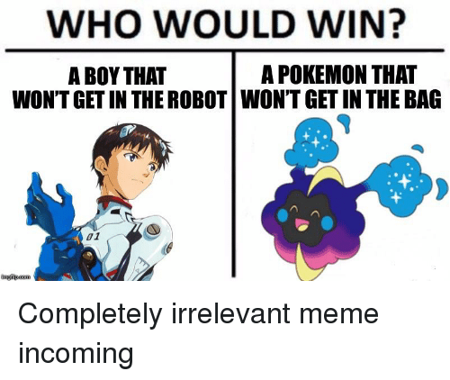 Nebby: WHO WOULD WIN?  A BOY THAT  A POKEMON THAT  WON'T GET IN THE ROBOT WON'T GET IN THE BAG  01