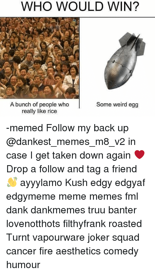 Dank, Fire, and Fml: WHO WOULD WIN?  A bunch of people who  really like rice  Some weird egg -memed Follow my back up @dankest_memes_m8_v2 in case I get taken down again ❤ Drop a follow and tag a friend 👋 ayyylamo Kush edgy edgyaf edgymeme meme memes fml dank dankmemes truu banter lovenotthots filthyfrank roasted Turnt vapourware joker squad cancer fire aesthetics comedy humour