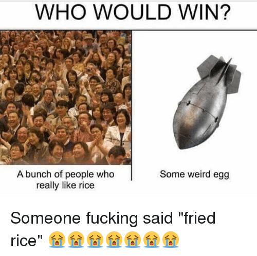 "Ricing: WHO WOULD WIN?  A bunch of people who  really like rice  Some weird egg Someone fucking said ""fried rice"" 😭😭😭😭😭😭😭"