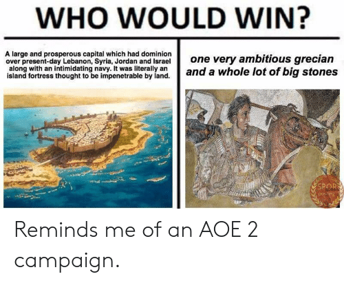 aoe 2: WHO WOULD WIN?  A large and prosperous capital which had dominion  over present-day Lebanon, Syria, Jordan and Israel  one very ambitious grecian  slang orthes thouight ioe impeernd a whole lot of big stones  an intimidating navy. It was literally arn  island fortress thought to be impenetrable by land.  SPOR Reminds me of an AOE 2 campaign.