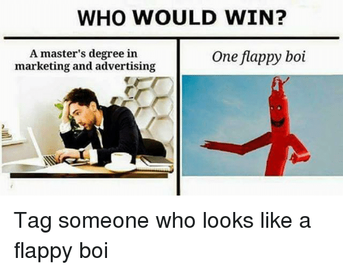 Masters, Tag Someone, and Dank Memes: WHO WOULD WIN?  A master's degree in  marketing and advertising  One flappy boi Tag someone who looks like a flappy boi