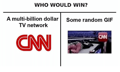 cnn.com, Gif, and Ironic: WHO WOULD WIN?  A multi-billion dollar Some random GIF  TV network  CNN
