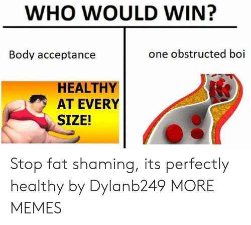 Shaming: WHO WOULD WIN?  Body acceptance  one obstructed boi  HEALTHY  AT EVERY  SIZE! Stop fat shaming, its perfectly healthy by Dylanb249 MORE MEMES