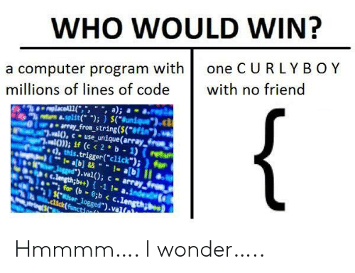 "function: WHO WOULD WIN?  one C URLY BOY  a computer program with  millions of lines of code  with no friend  {  replaceAL1(,"", "", a);  8-split( );) $(Bunique  array_from_string($(*#Fim*).  al),cuse_unique(array froes  al)); if (c < 2 b 1) (retu  ), this.trigger(""click"");)for  1- ab]&&1-a[b] II  Jgged"").val(); c array  C.length;b++)-1 1- a.index  for (b 8;b < c.length  $.user_logged"").val  .dick(function Hmmmm…. I wonder….."