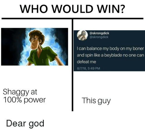 beyblade: WHO WOULD WIN?  @skrongdick  @skrongdick  I can balance my body on my boner  and spin like a beyblade no one can  defeat me  8/7/18, 5:49 PM  Shaggy at  100% power  This guy Dear god