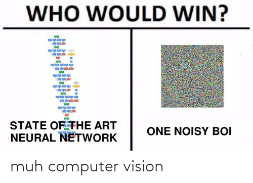 Who Would Win: WHO WOULD WIN?  STATE OF THE ART  NEURAL NETWORK  ONE NOISY BOI muh computer vision