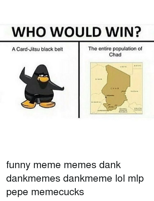 Lol, Memes, and 🤖: WHO WOULD WIN?  The entire population of  A Card-Jitsu black belt  Chad funny meme memes dank dankmemes dankmeme lol mlp pepe memecucks