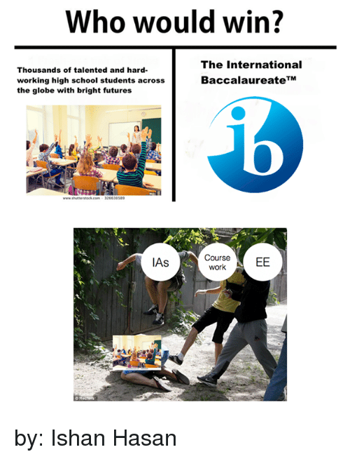 School, Work, and International Baccalaureate: Who would win?  The International  Thousands of talented and hard-  Baccalaureate TM  working high school students across  the globe with bright futures  Course  EE  work  IAs by: Ishan Hasan