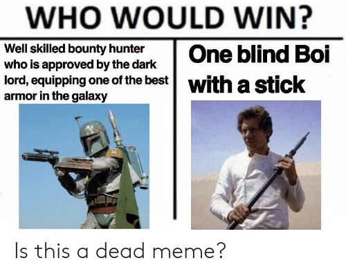 Dead Meme: WHO WOULD WIN?  Well skilled bounty hunter  who is approved by the dark  lord, equipping one of the best  with a  armor in the galaxy  eticok Is this a dead meme?
