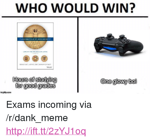"""Dank, Meme, and Good: WHO WOULD WIN?  WILEY  Hours of studying  for good grades  One glowy boi  imgilip.com <p>Exams incoming via /r/dank_meme <a href=""""http://ift.tt/2zYJ1oq"""">http://ift.tt/2zYJ1oq</a></p>"""