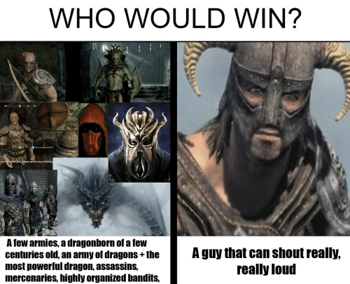 tew: WHO WOULD WIN?  ysie duioywPacziemne  A Tew armies, a dragonborn of a leW  centuries old, an army of dragons +the  most powerlul dragon, assassinS,  mercenaries, highly organized bandits,  A guy that can shout realy,  really loud