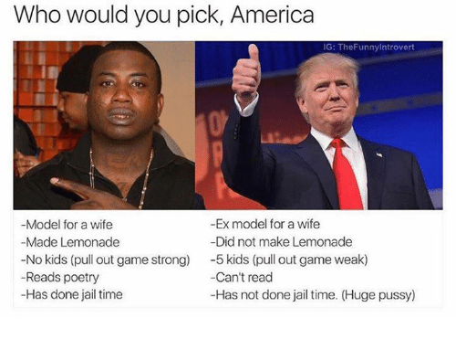 America, Jail, and Game: Who would you pick, America  IG: TheFunnylntrovert  -Ex model for a wife  Model for a wife  Made Lemonade  -Did not make Lemonade  No kids (pull out game strong)  5 kids (pull out game weak)  Reads poetry  -Can't read  Has done jail time  -Has not done jail time. (Huge pussy)