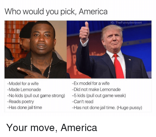 America, Ex's, and Jail: Who would you pick, America  IG: TheFunnylntrovert  -Ex model for a wife  Model for a wife  Did not make Lemonade  Made Lemonade  No kids (pull out game strong)  5 kids (pull out game weak)  Can't read  Reads poetry  -Has done jail time  -Has not done jail time. (Huge p Your move, America