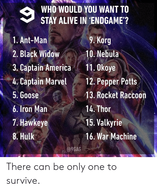War Machine: WHO WOULD YOU WANT TO  STAY ALIVE IN 'ENDGAME'?  9. Korg  1. Ant-Man  2. Black Widow10. Nebula  3. Captain America11. 0koye  4. Captain Mavel 12. Pepper Potts  5. Goose  6. Iron Man  7. Hawkeye  8. Hulk  13. Rocket Raccoon  14. Thor  15. Valkyrie  16. War Machine  a9GAG There can be only one to survive.