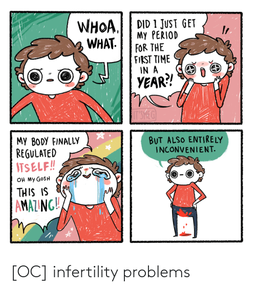 for the first time: WHOA.  WHAT.  DID 1 JUST GET  My PERIOD  FOR THE  FIRST TIME  IN A  YEAR?!  IT'SMEG  MY BODY FINALLY  REGULATED  ITSELF!!  BUT ALSO ENTIRELY  INCONVENIENT.  OH MY GOSH  THIS IS  AMAZING!! [OC] infertility problems