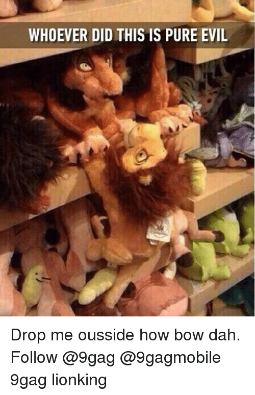 Pure Evilness: WHOEVER DID THIS IS PURE EVIL Drop me ousside how bow dah. Follow @9gag @9gagmobile 9gag lionking