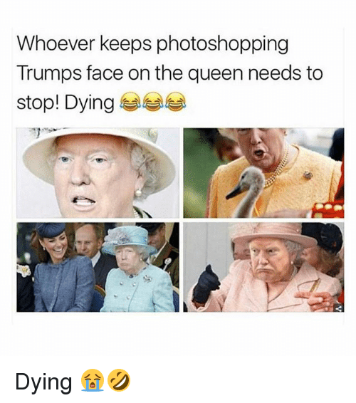 Memes, Queen, and 🤖: Whoever keeps photoshopping  Trumps face on the queen needs to  stop! Dying 부부부 Dying 😭🤣
