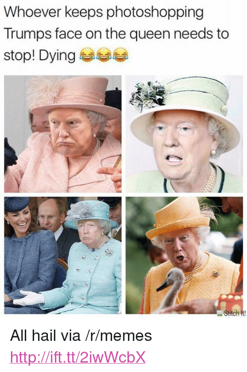 """Memes, Queen, and Http: Whoever keeps photoshopping  Trumps face on the queen needs to  stop! Dying 부부부  Stitch It <p>All hail via /r/memes <a href=""""http://ift.tt/2iwWcbX"""">http://ift.tt/2iwWcbX</a></p>"""