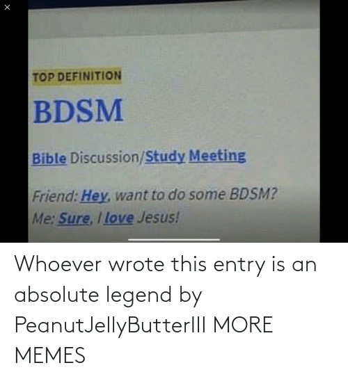 Whoever: Whoever wrote this entry is an absolute legend by PeanutJellyButterIII MORE MEMES