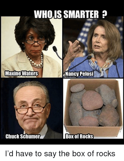 Nancy Pelosi: WHOIS SMARTER?  Maxine Waters  Nancy Pelosi  Chuck Schumer  Box of Rocks I'd have to say the box of rocks