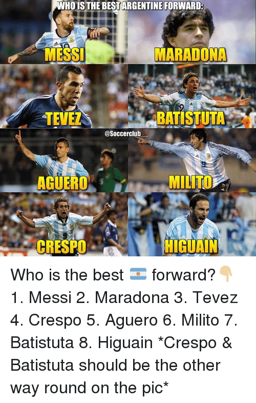 Memes, Best, and Messi: WHOISTHE BEST ARGENTINE FORWARD  MESSI  MARADONA  TEVE  .. .BATISU TA. 嘲  @Soccerclub_  AGUERO  MILITO  -CRESPO、  HIGUAIN Who is the best 🇦🇷 forward?👇🏼 1. Messi 2. Maradona 3. Tevez 4. Crespo 5. Aguero 6. Milito 7. Batistuta 8. Higuain *Crespo & Batistuta should be the other way round on the pic*